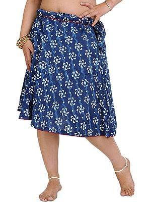 Estate-Blue Short Skirt with Bagdoo Block-Printed Flowers