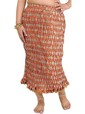 Burnt-Brick Crushed Midi Skirt with Printed Leaves and Gota Border