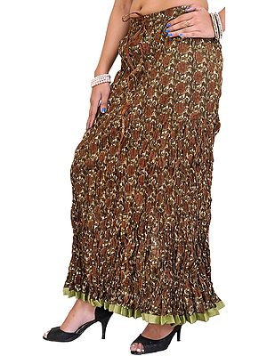 Dusky-Green Crinkled Long Skirt with Block-Printed Flowers and Patch Border