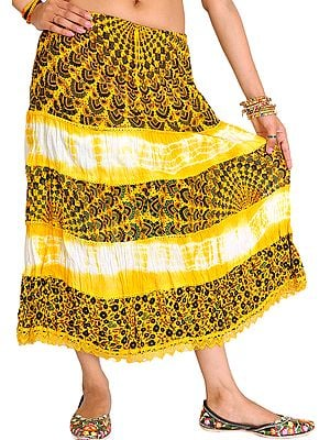 Batik-Dyed Midi Skirt with Printed Flowers