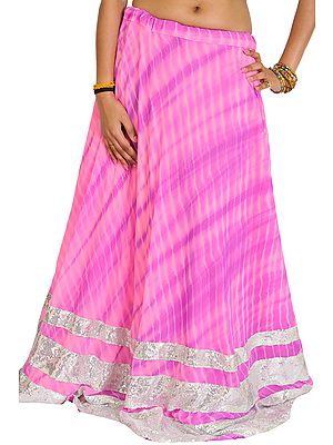 Pink and Purple Batik-Dyed Skirt with Densely Sequined Border