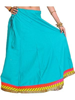 Plain Long Ghagra Skirt from Pilkhuwa with Patch Border