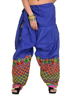 Plain Salwar from Gujarat with Ari Embroidery on Bottom