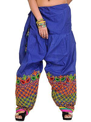 Plain Salwar from Gujarat with Ari Embroidery on Bottom