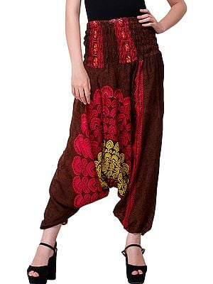 Floral  Printed Harem Trouser with Elastic Waist