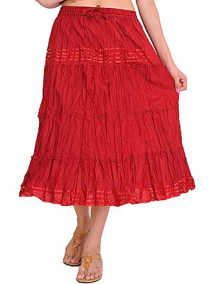 Plain Elastic-Waist Midi Skirt with Lace