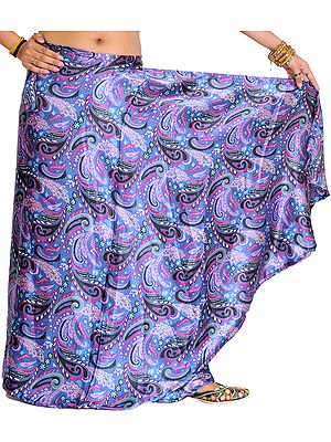 Blue-Yonder Wrap-Around Skirt with Printed Paisleys