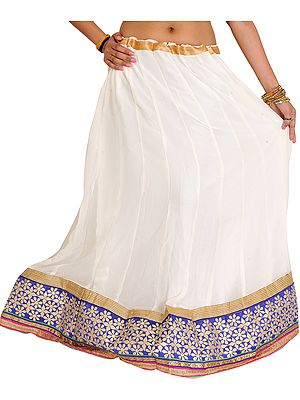 Egret-White Long Ghagra with Floral Embroidered Patch Border