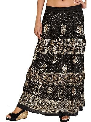 Jet-Black Long Skirt with Printed Flowers and Bootis in Golden Color