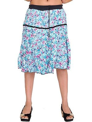 Plume-Blue Floral Printed Short Skirt with Black Elastic Waist