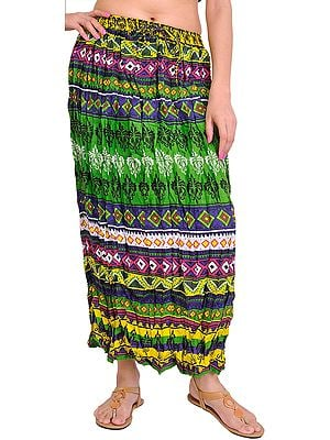 Mint-Green Long Crinkled Skirt with Printed Motifs