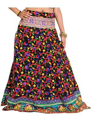 Jet-Black Floral Embroidered Ghagra with Embroidered Patch Border and Sequins
