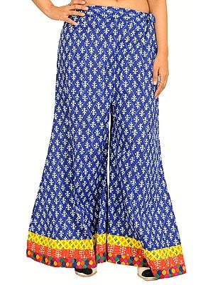Casual Palazzo Pants from Pilkhuwa with Printed Bootis and Patch Border
