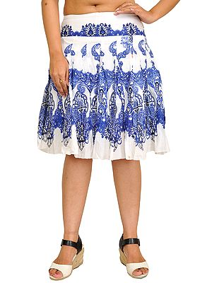 White and Blue Plated Short Skirt with Printed Paisleys