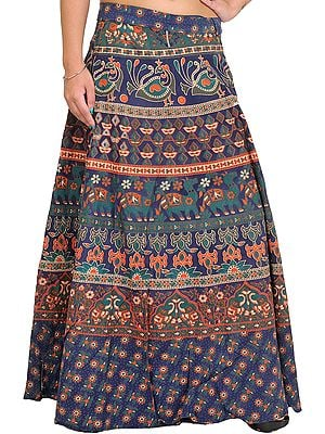 Medieval-Blue Wrap-Around Long Skirt from Pilkhuwa with Printed Animals