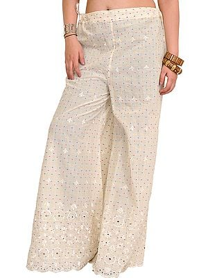 Cream Palazzo Pant with Woven Bootis and Embroidery on Border
