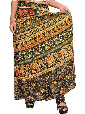 Green-Gables Wrap-Around Printed Skirt from Pilkhuwa with Elephants