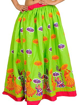 Jasmine-Green Long Ghagra from Gujarat with Embroidered Ladies