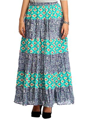 Gray and Green Long Printed Skirt with Elastic Waist