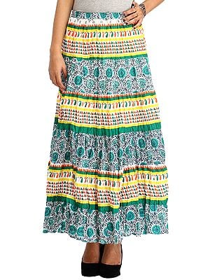 Tropical-Green Long Elastic Skirt with Geometric Print