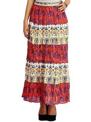 Red and White Long Printed Skirt with Paisleys