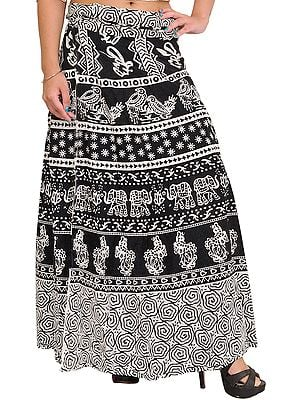 Black and White Wrap-Around Printed Long Skirt from Pilkhuwa