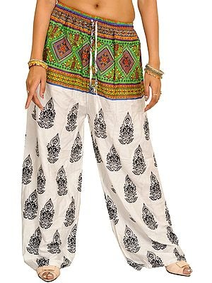 White Bohemian Yoga Trousers with Gautam Buddha Print