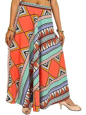 Multicolor Long Skirt with Inca Print
