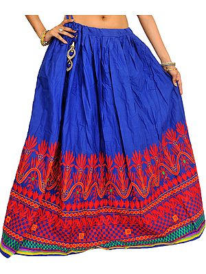 True-Blue Ghagra from Gujarat with Ari Embroidery on Border