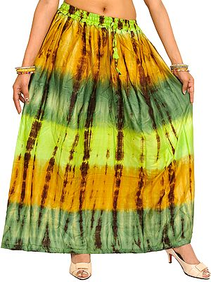 Green and Honey Long Skirt with Batik Print