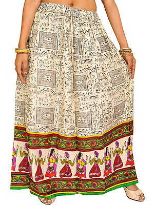 Off-White Warli Folk Printed Long Skirt with Dancing Couples