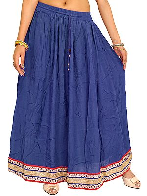 Plain Long Skirt with Embellished Patch Border