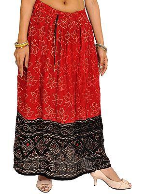Red and Black Long Skirt with Bandhani Print