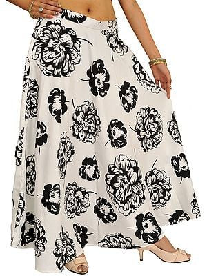 White and Black Long Skirt with Printed Giant Flowers