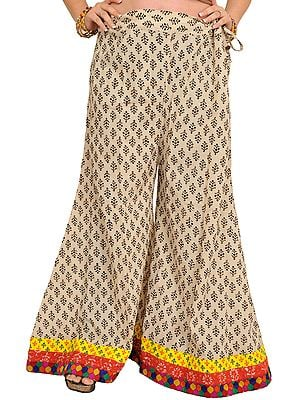 Dusty-White Casual Palazzo Pant from Pilkhuwa with Block-Printed Bootis and Patch Border