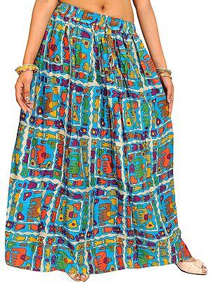 Cyan-Blue Long Skirt with Printed Elephants