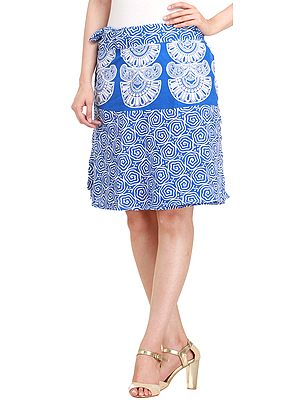 Wrap-Around Mini-Skirt from Pilkhuwa with Block Print