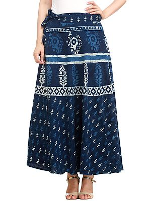 Twilight-Blue Wrap-Around Long Skirt from Pilkhuwa with Bagdoo Block Print