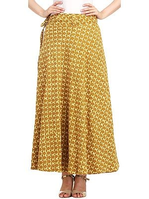 Bronze-Mist Wrap-Around Long Skirt from Pilkhuwa with Bagdoo Print