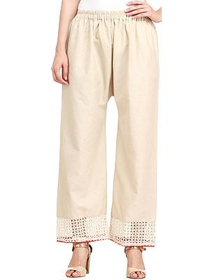 Whitecap-Gray Handspun Cotton Trousers with Cutwork on Border