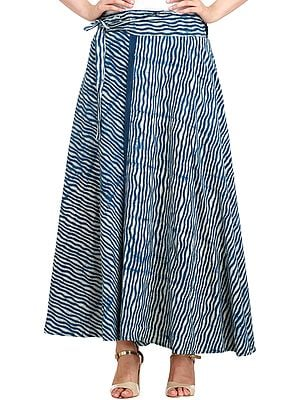 Ensign-Blue Wrap-Around Leheria Skirt from Pilkhuwa with Bagdoo Print