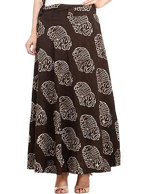 Turkish-Coffee Wrap-Around Bagdoo Skirt from Pilkhuwa with Block-Printed Elephants