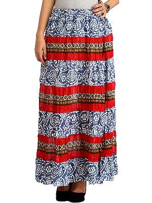 Blue and Maroon Elastic Long Skirt with Floral Print