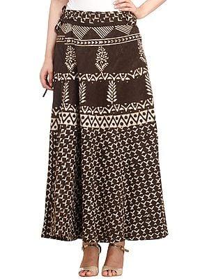 Coffee-Bean Wrap-Around Long Skirt from Pilkhuwa with Bagdoo Print