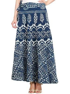 True-Navy Wrap-Around Skirt from Pilkhuwa with Bagdoo Print