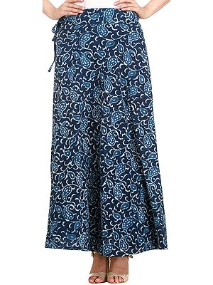 Estate-Blue Wrap-Around Skirt from Pilkhuwa with Block Printed Paisleys