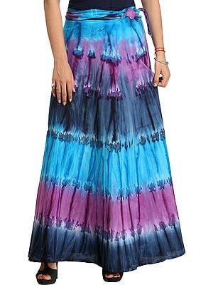 Batik-Dyed Wrap-Around Long Skirt