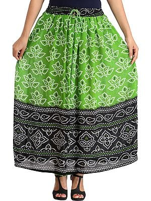 Double-Shaded Elastic Long Skirt with Bandhani Print