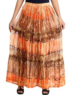 Batik-Dyed Elastic Long Skirt with Lace