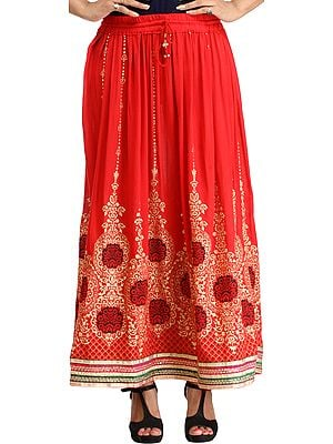 Embellished Long Skirt with Golden Print and Embroidered Patch Border